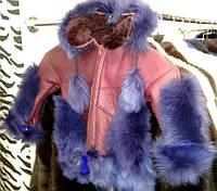 Дубленка из натуральной овчины, с капюшоном в фиолетовом цвете