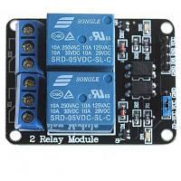2-канальный релейный модуль 5V для разработки SCM / управления бытовыми приборами Синий