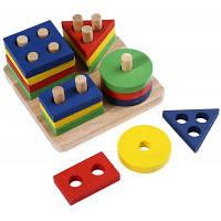 Детская игрушка из дерева для сортировки предметов разной формы Цветной