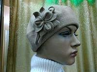 Береты TONAK  из мягкой шерсти с цветком, бежевый цвет, фото 1
