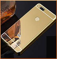 Металлический бампер Epik с акриловой вставкой с зеркальным покрытием на Xiaomi Mi A1 / Mi 5X Gold
