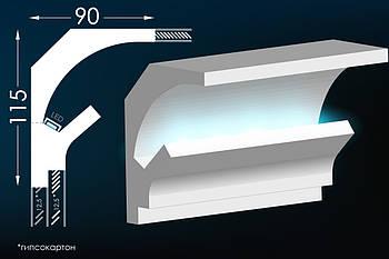 Гипсовый карниз из гипса для скрытого освещения Тс-1
