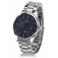OSHRZO Модные мужские кварцевые часы стальная лента + черный циферблат