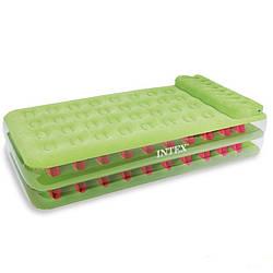Велюровая надувная кровать Intex 67715, салатовая, 191 х 99 х 38 см Ліжко