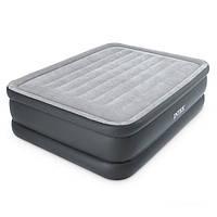 Двухспальная надувная флокированная кровать Intex 64140, серая, со встроенным насосом Ліжко