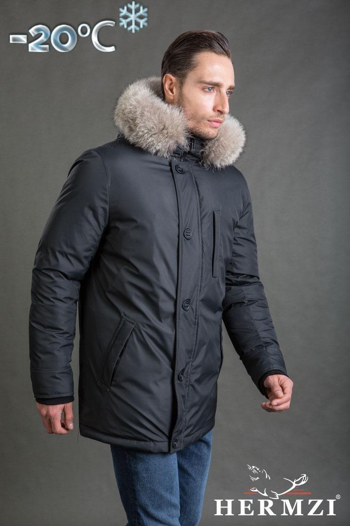 2a49c639ae10 Мужская зимняя куртка, удлиненная, бренда Hermzi, с натуральным мехом енота  - ООО