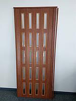 Дверь остекленная 860х2030х6мм  дуб канадский  гармошка раздвижная