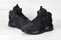 Кроссовки Nike Air Huarache - Original, all black, материал - нубук, подошва - пенка