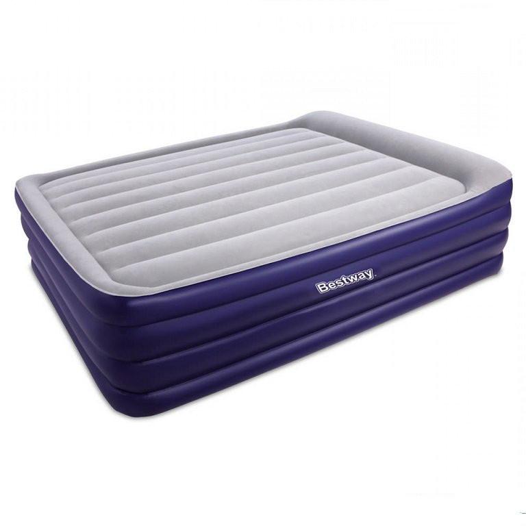 Надувная флокированная кровать Bestway 67528, серая, со встроенным насосом 220V, Ліжко