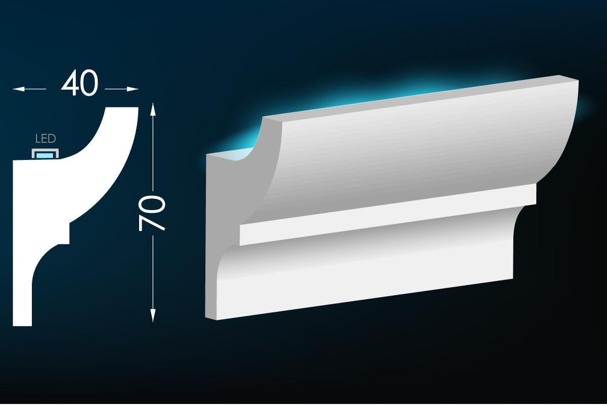 Потолочный молдинг с подсветкой, карниз для скрытого освещения Тс-3