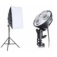 3-в-1 Комплект студийного света на 4 лампы, высота стойки 2 м, размер лайтбокса 50 х 70 см 15639