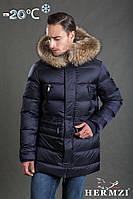 Мужская зимняя куртка, бренда Hermzi, с натуральным мехом енота, на холлофайбере