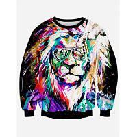 Свитшот с 3D принтом красочного льва и длинными рукавами S