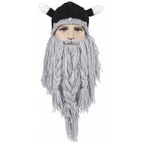 Стильная вязаная шапка с формой животных уха и бородами для мужчин Чёрный