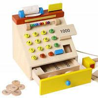 Детский деревянный кассовый аппарат-игрушка с подвижными частями Цветной