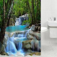 3D водопад природа пейзаж занавеска для ванны Зелёный