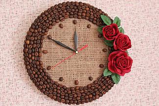 Часы настенные с розами, авторская работа, Декор интерьера