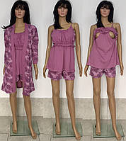 Комплект халат и пижама с шортами для кормящих и беременных мам с цветочным принтом 44-50 р