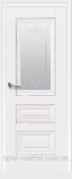Дверное полотно Статус со стеклом и молдингом белый матовый