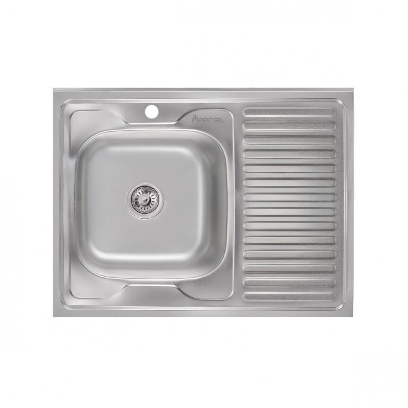 Кухонная мойка матовая Imperial 6080L (08) Satin накладная