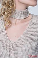 Женский джемпер свитер с чокером, фото 1