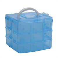 Трехуровневый Съемный пластиковый бокс для хранения Синий