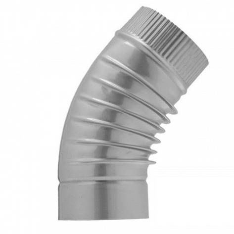 Отвод вентиляционный цинк. Отвод    45° д.115 гофр., фото 2
