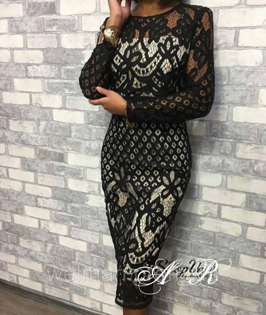 47fb57504a3 Женское шикарное платье из гипюра (2 цвета) - WEL MARI интернет-магазин  женской