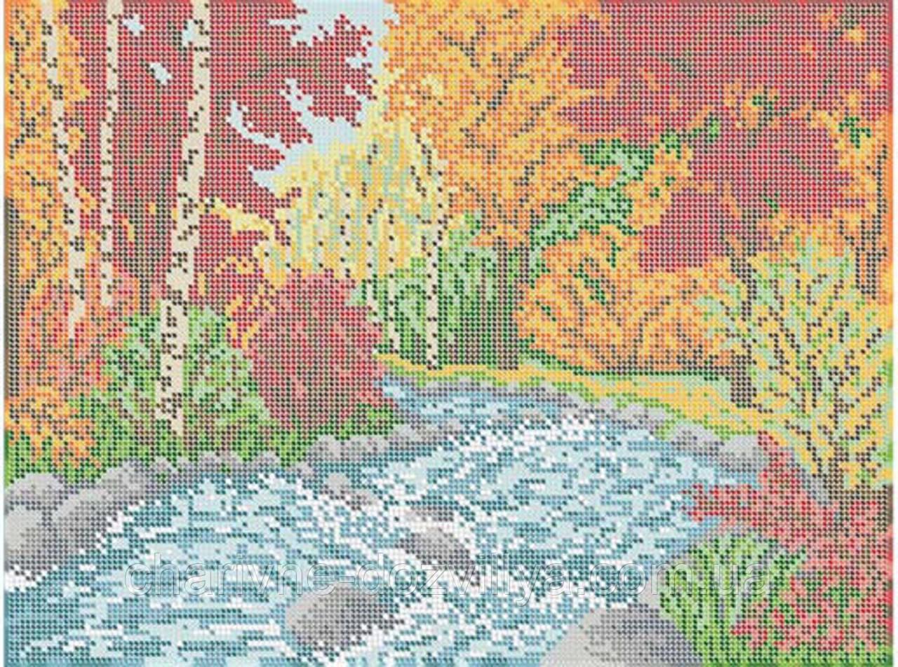 "Схема для вышивки бисером (бісером) на габардине ""Осенний пейзаж"""