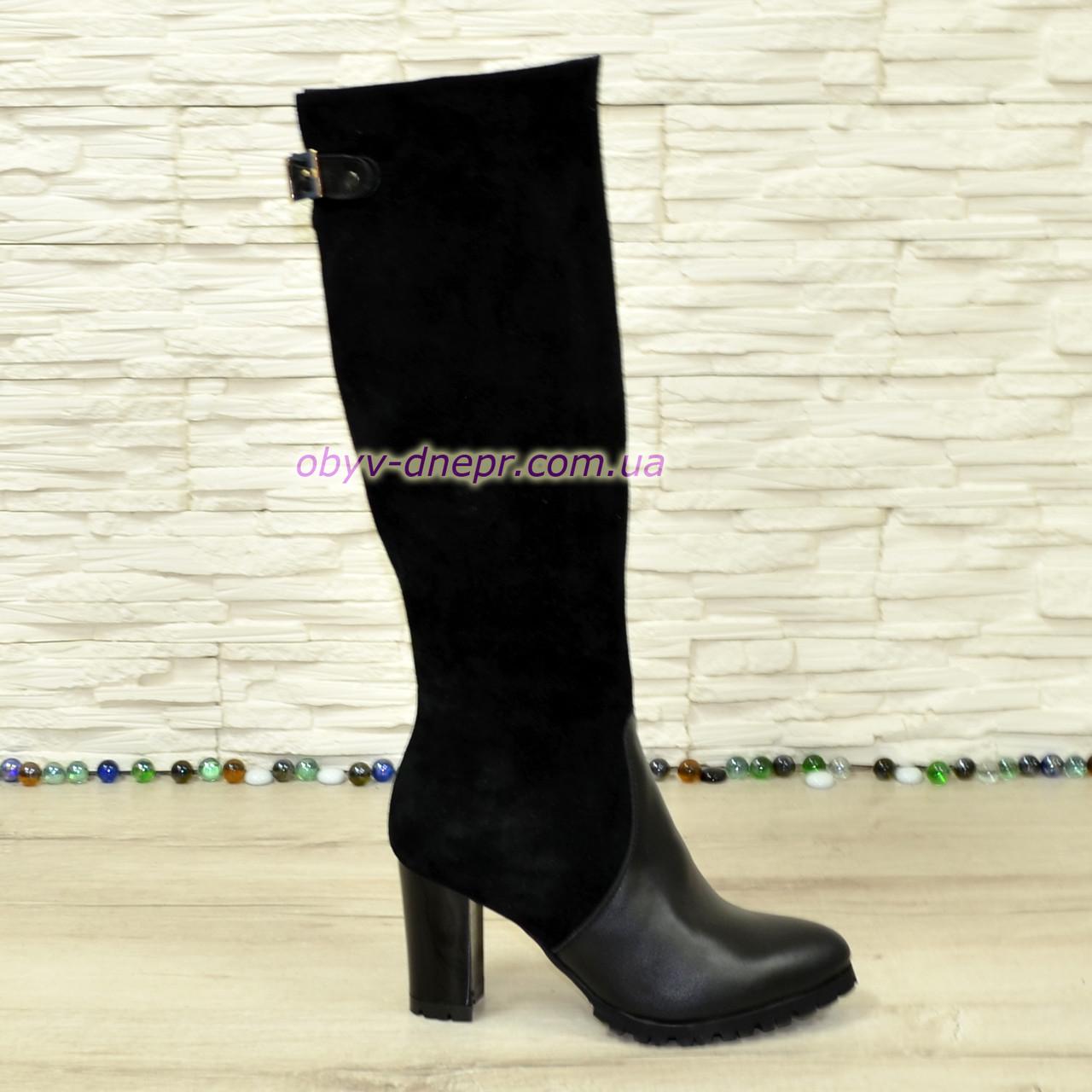 Сапоги женские демисезонные на устойчивом каблуке, натуральная кожа и замша.