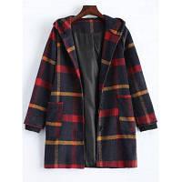 Шерстяное пальто с капюшоном L