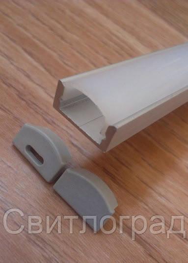 Алюминиевый профиль для светодиодной ленты накладной с рассеивателем LED-01 (ЛП-7)