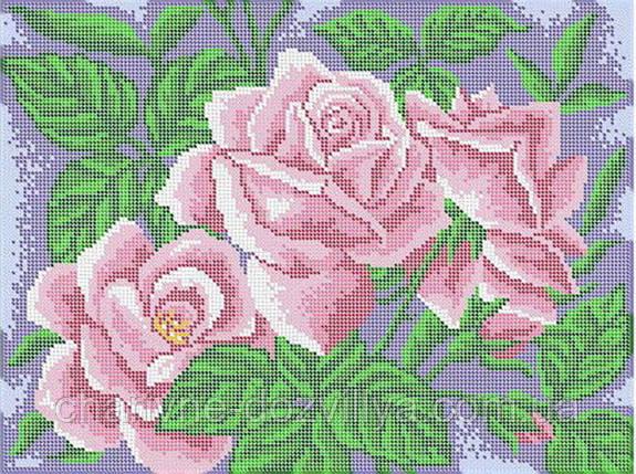 """Схема для вышивки бисером (бісером) на габардине """"Розы"""" , фото 2"""