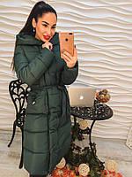 Женское зимнее удлиненное пальто Лесли зеленое
