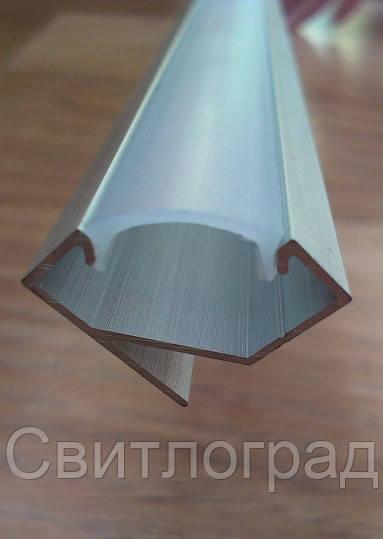 Алюминиевый профиль для LED ленты угловой + рассеиватель матовый или прозрачный