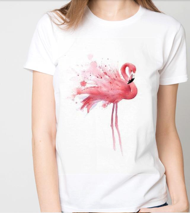 """Футболка жіноча біла з малюнком """"Рожевий фламінго"""""""