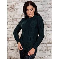 Теплый свитер женский две косы p.42-46 P30258-3