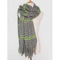 """Теплый зимний шарф с узором """"гусиная лапка"""" и контрастной полосой с бахромой Серый"""