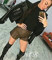 Женские стильные шорты из эко-кожи (2 цвета), фото 1