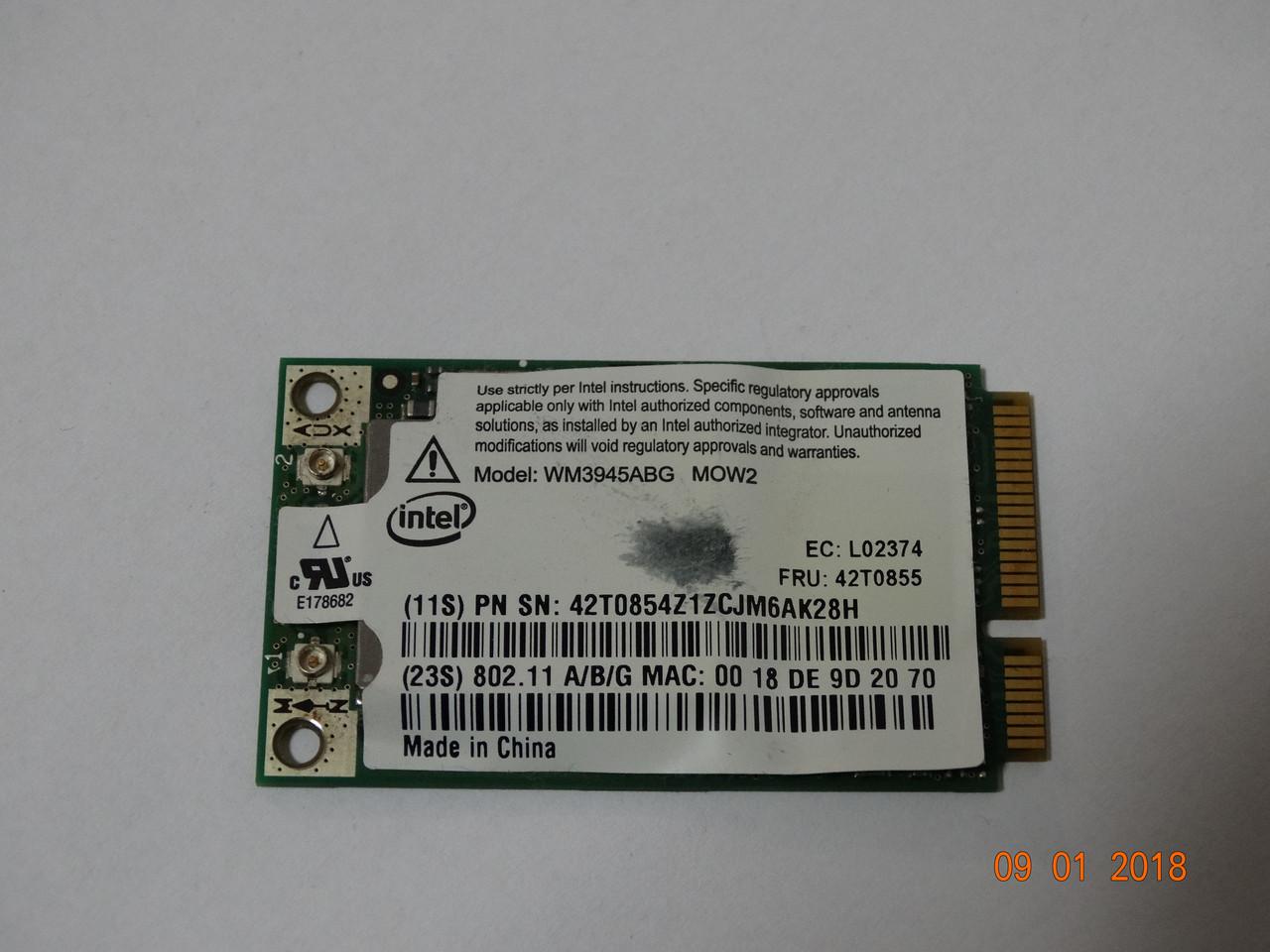 Модуль WiFi FRU 42T0855 IBM ThinkPad X61 Intel WM3945ABG MOW2 miniPCI-E