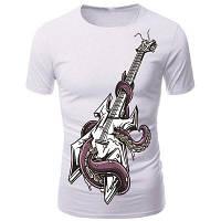 3D Octopus и гитары Печать шею с коротким рукавом футболки для мужчин XL
