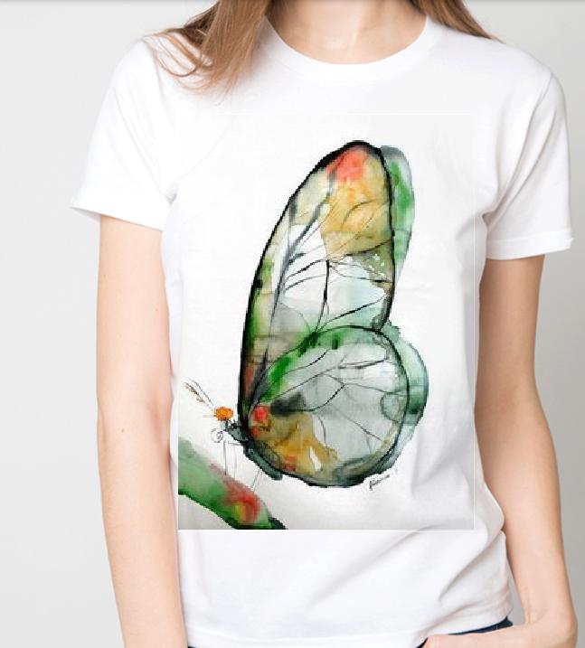 """Футболка жіноча біла з малюнком """"Метелик"""""""