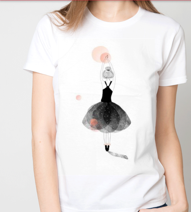 """Футболка женская белая с рисунком """"Маленькая балерина"""""""