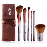 6 PCS Face Lip Eye волоконной кисти для макияжа Набор с сумка хранения Коричневый