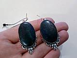 Серьги с камнем хризоколла в серебре серьги с хризоколлой, фото 4