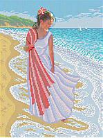 "Схема для вышивки бисером (бісером) на габардине ""Девушка на берегу моря """