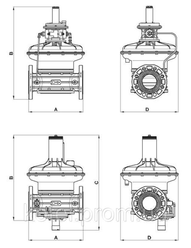 Размеры регуляторов давления газа Madas RG 2MBZ DN65-100