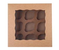 Коробка для 9 капкейков с окошком, самосборная и со вставкой 250х250х100 мм. крафт, фото 1
