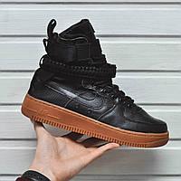 Кроссовки мужские Nike Air Force (черные), ТОП-реплика, фото 1