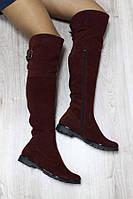 Сапоги-ботфорты женские (зима), материал - натуральная замша + набивная овчина (евро), бордовые